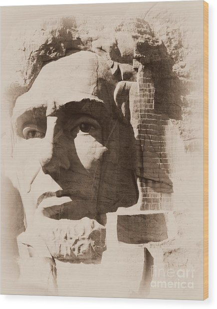 Mount Rushmore Faces Lincoln Wood Print