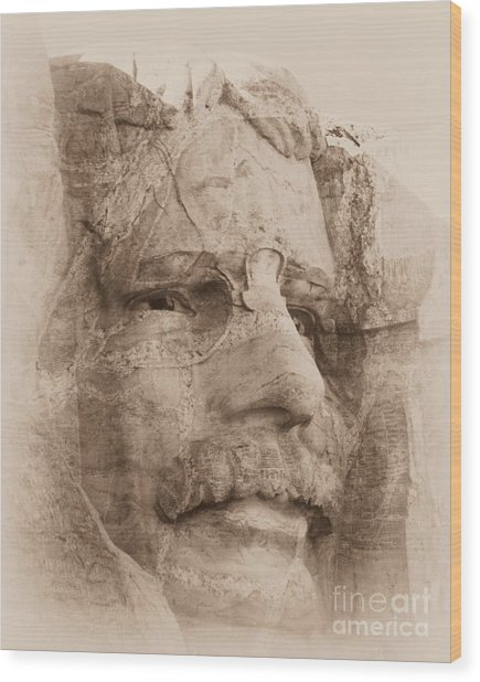 Mount Rushmore Faces Roosevelt Wood Print