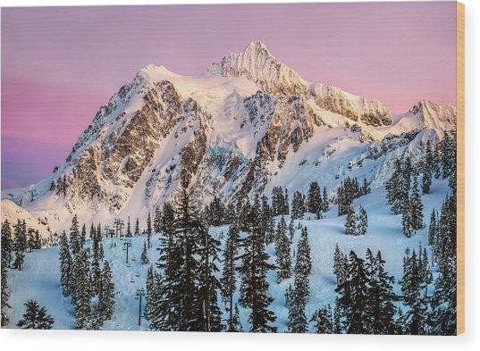 Mount Shuksan At Sunset Wood Print