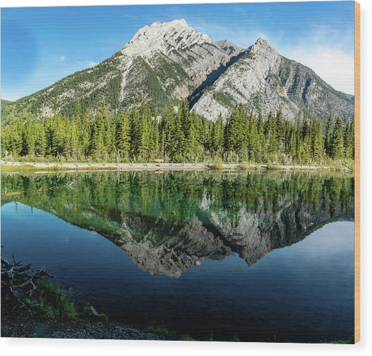 Mount Skogan Reflected In Mount Lorette Ponds, Bow Valley Provin Wood Print