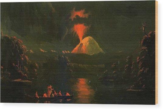 Mount St Helens Erupting At Night Wood Print
