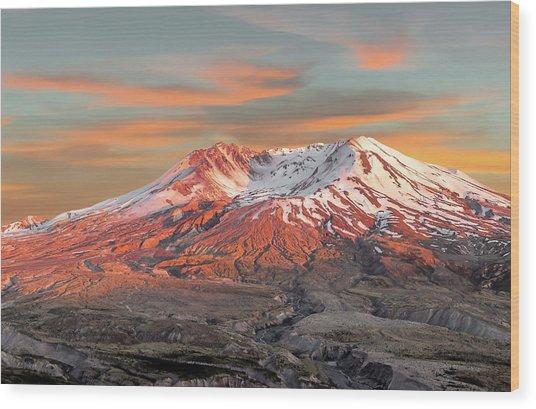 Mount St Helens Sunset Washington State Wood Print