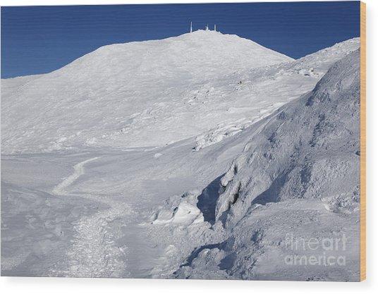 Mount Washington - White Mountain New Hampshire Usa Winter Wood Print
