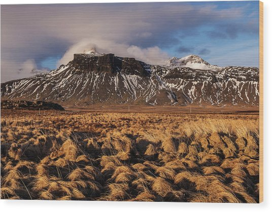 Mountain And Land, Iceland Wood Print
