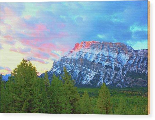 Mountain At Dawn Wood Print by Paul Kloschinsky