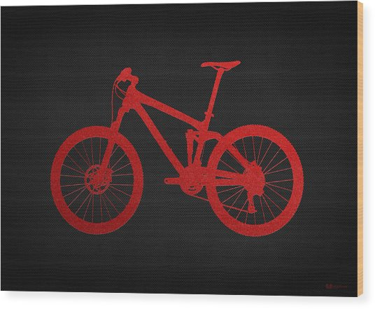 Mountain Bike - Red On Black Wood Print