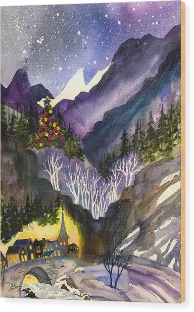 Mountain Christmas Wood Print