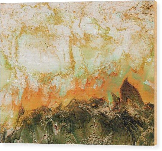 Mountain Flames II Wood Print by Paul Tokarski