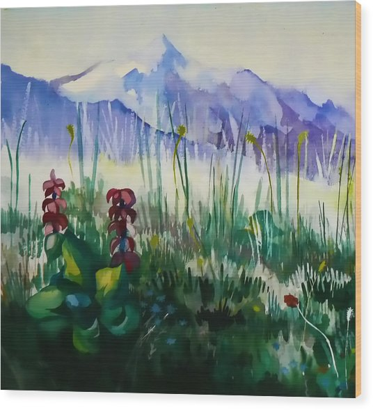 Mountain Flowers Wood Print by Anastasia Michaels