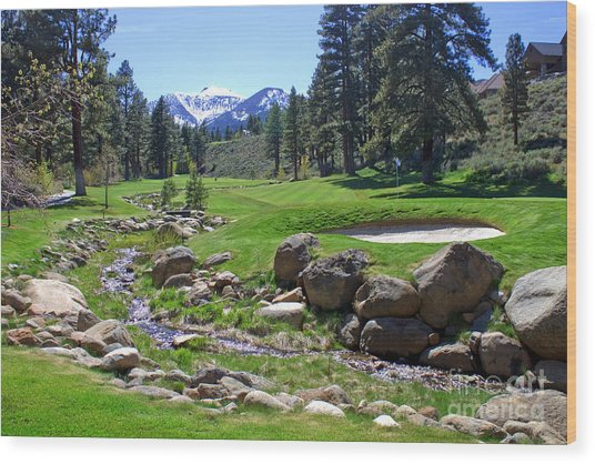 Mountain Golf Course Wood Print