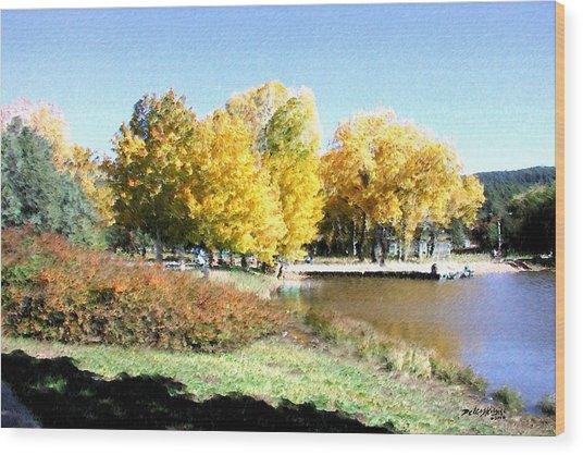 Mountain Lake Autumn Wood Print