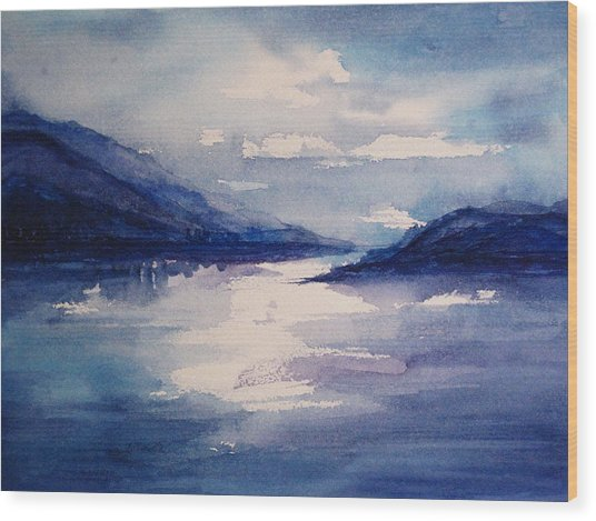 Mountain Lake In Blue Wood Print by Suzanne Krueger