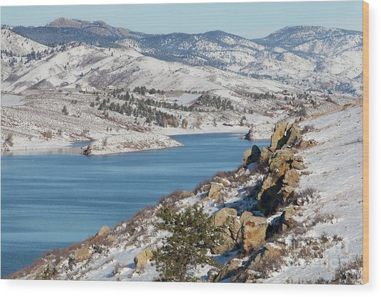 Mountain Lake In Winter Scenery Wood Print