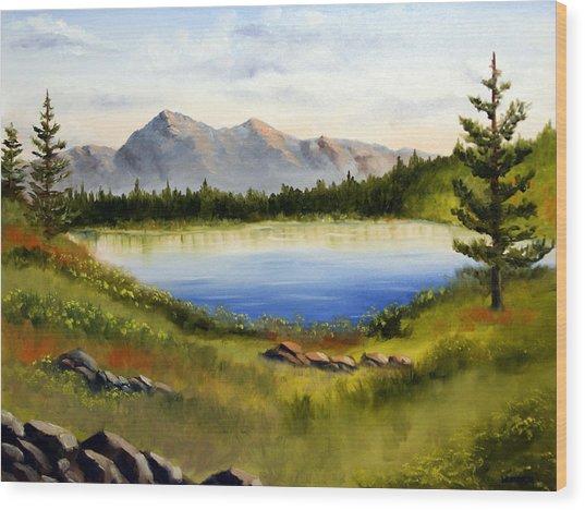 Mountain Lake Landscape Oil Painting Wood Print