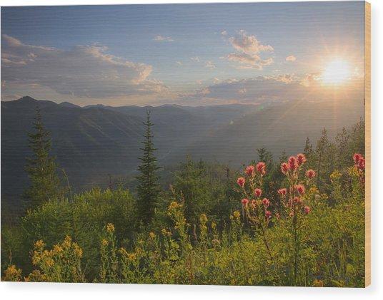 Mountain Light Wood Print