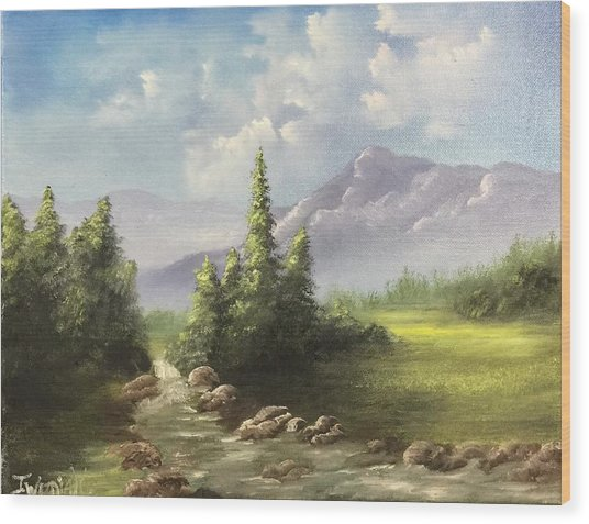 Mountain Meadow Wood Print