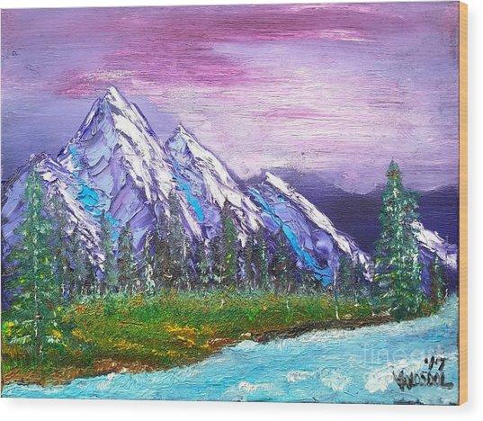Mountain Meadow Landscape Scene Wood Print