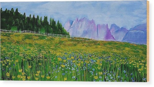 Mountain Meadow Wildflowers Wood Print