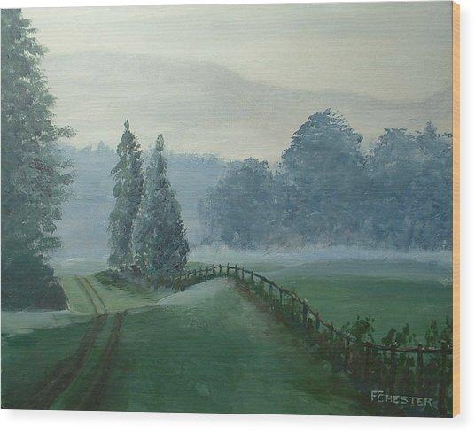 Mountain Mist Wood Print
