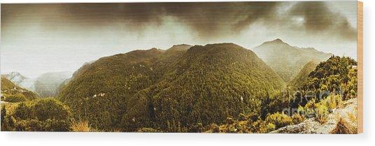Mountain Of Trees Wood Print