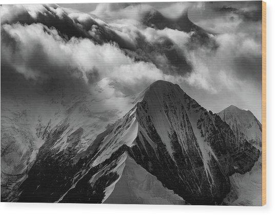Mountain Peak In Black And White Wood Print
