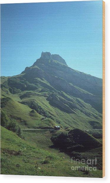 Mountain Peak With Farms Wood Print