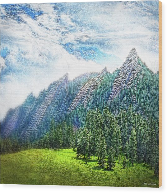 Mountain Pine Meadow Wood Print