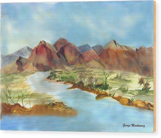 Mountain Range Wood Print by George Markiewicz