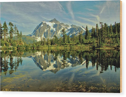 Mountain Reflections Wood Print by Marv Russell