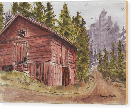 Wood Print featuring the painting Mountain Retreat by Barry Jones
