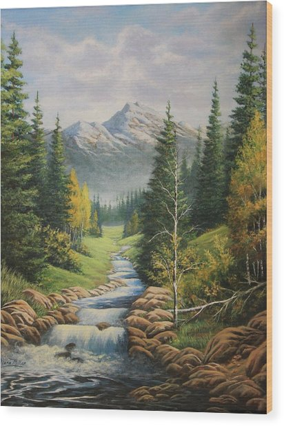 Mountain River View Wood Print by Diana Miller