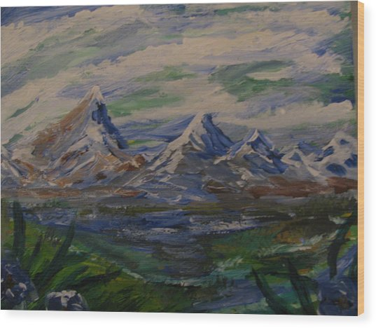Mountain Scene Wood Print by Dennis Poyant