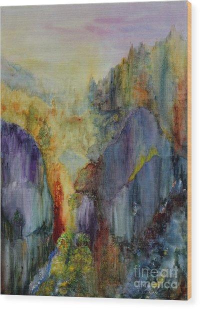 Wood Print featuring the painting Mountain Scene by Karen Fleschler