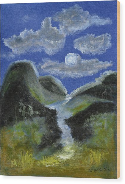 Mountain Spring In The Moonlight Wood Print