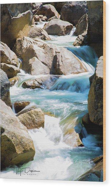 Mountain Spring Water Wood Print