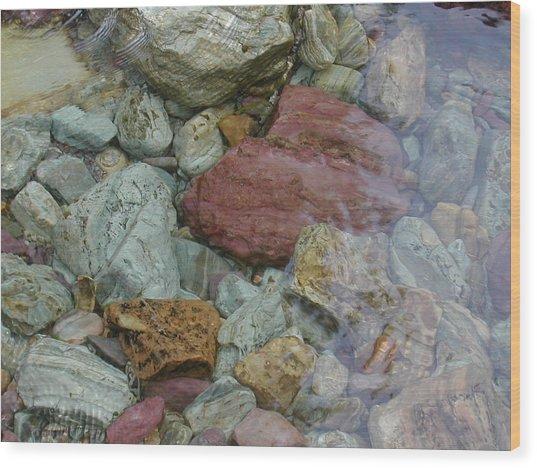 Mountain Stones Wood Print by Lisa Patti Konkol
