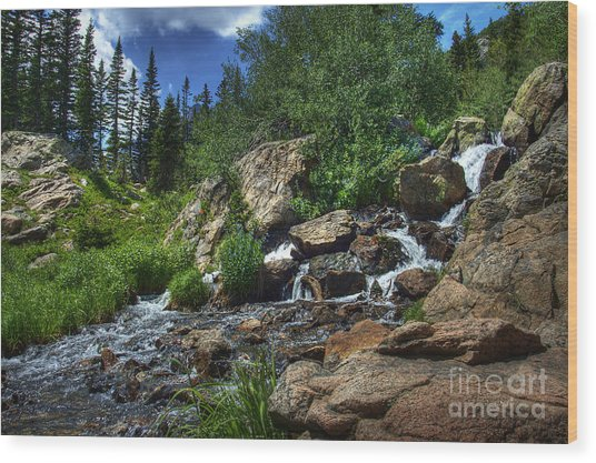 Mountain Stream 3 Wood Print by Pete Hellmann
