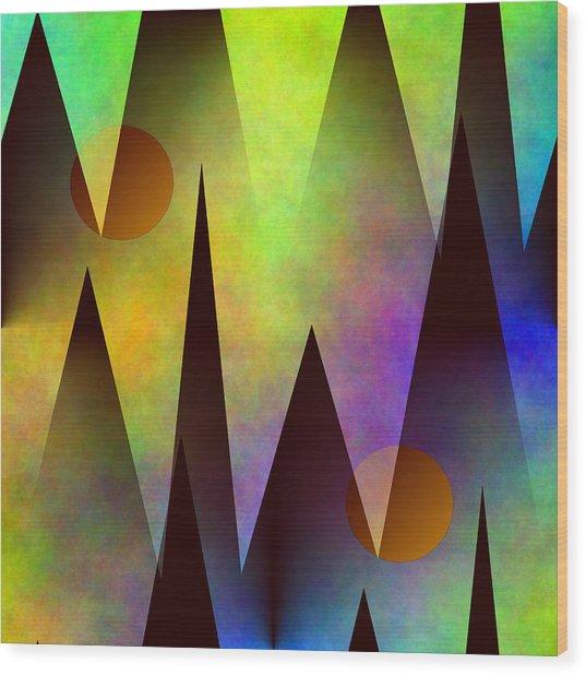 Mountain Sunset Abstract Wood Print