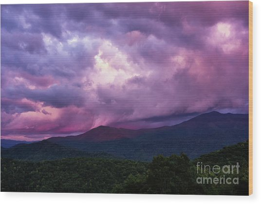 Mountain Sunset In The East Wood Print