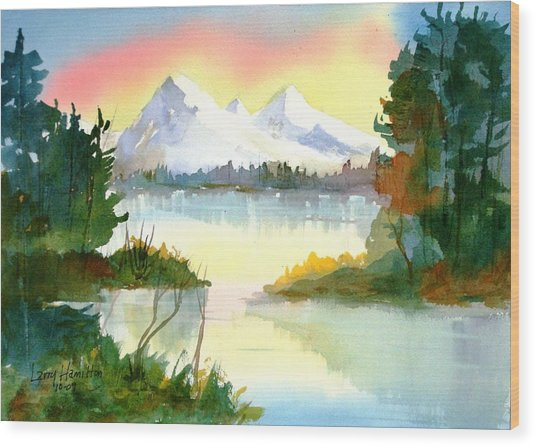 Mountain Sunset Wood Print by Larry Hamilton