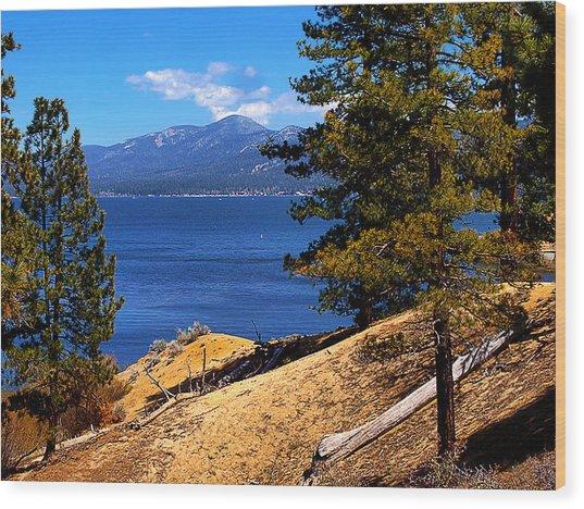 Mountain Thru The Pines Wood Print