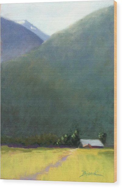 Mountain Valley Farm Wood Print