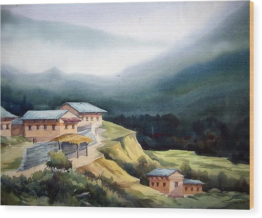 Mountain Village From Top View Wood Print
