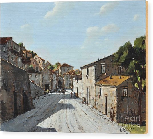 Mountain Village Main Street Wood Print