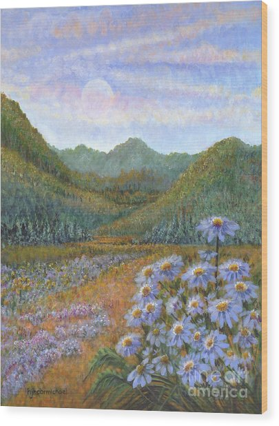 Mountains And Asters Wood Print