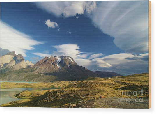 Mountains And Clouds In Patagonia Wood Print