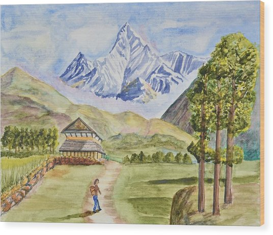 Mountains And Valley Wood Print