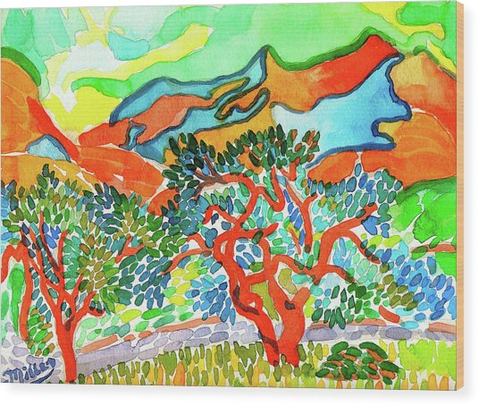 Mountains At Collioure Wood Print