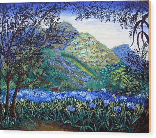 Mountains In Blue Wood Print