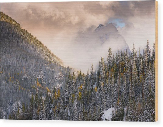 Mountains Light Wood Print